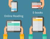 Online reading and E-book Mobile devices technology concept Vector illustration
