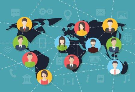 Social media network connection concept, vector map.