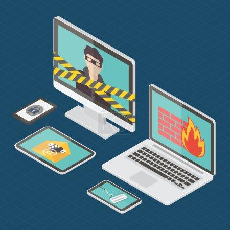 Isometric internet security vector
