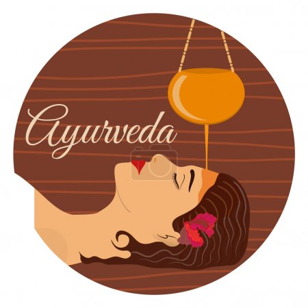 Illustration for Ayurveda, ayurvedic treatment. Beautiful woman making sirodhara procedure with oil. Vector illustration - Royalty Free Image