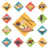 Sushi Japanese cuisine food icons set flat design vector