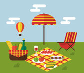 BBQ party Barbecue and grill cooking Flat design vector illustration