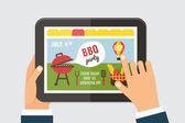 Summer party invitation template BBQ picnic Web site on tab screen with hands holding 4th of july Vector illustration