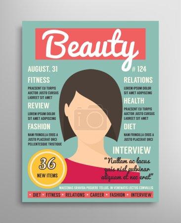 Illustration pour Modèle de couverture de magazine sur la beauté, la mode et la santé pour les femmes. Illustration vectorielle - image libre de droit