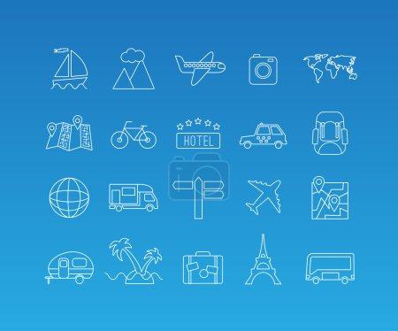 Travel mono line icon set