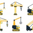 Construction icons, different types of cranes. Fla...