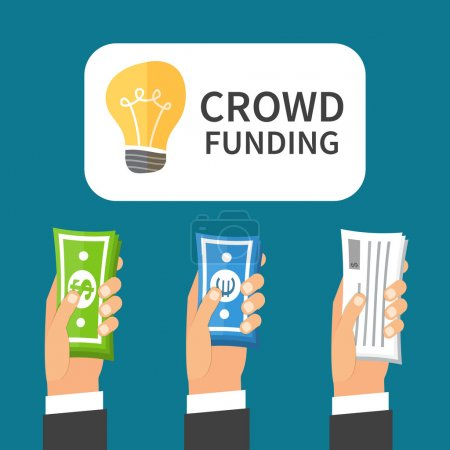 Crowdfunding process. Investing to startup business idea. Flat design illustration
