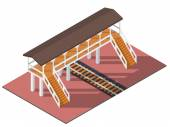 Vector isometric railway overpass 3d building icon City map elements
