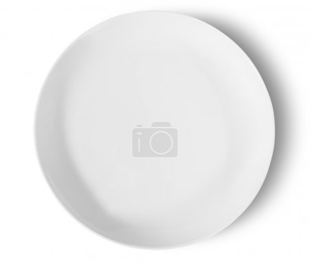 Photo for One Isolated White Porcelain Plate Top View Isolated On White Background - Royalty Free Image