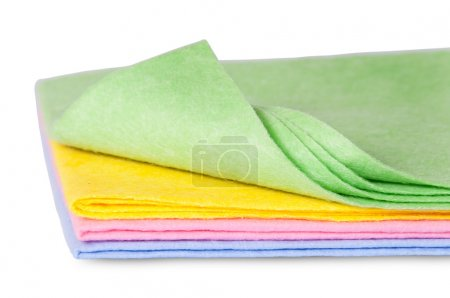 Multicolored cleaning cloths one folded front view