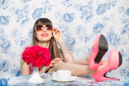 Relaxing fashion woman