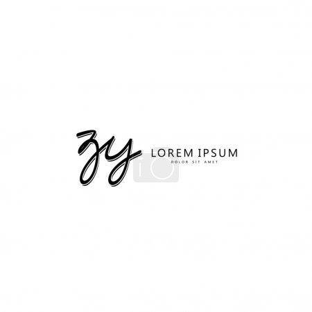 Illustration for Initial ZY handwriting of initial logo concept - Royalty Free Image