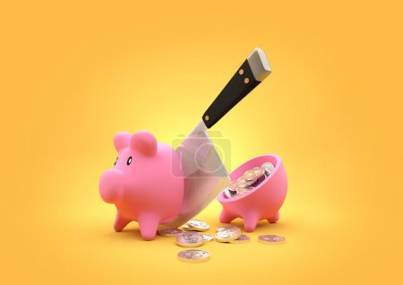 Slashed Savings. A piggy bank cut in half with a b...