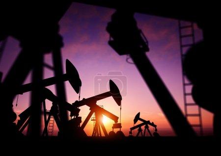 Oil Pumps at Dusk