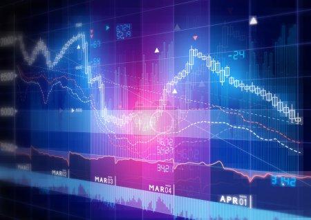 Photo pour Graphique de marché boursier - Graphique de suivi de marché boursier de bâton de bougie . - image libre de droit