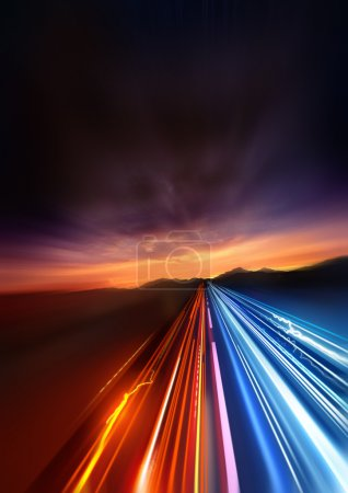 Photo for Super Fast. fast Light trails speeding into the distant landscape. - Royalty Free Image