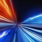 Super Fast. fast Light trails speeding into the di...