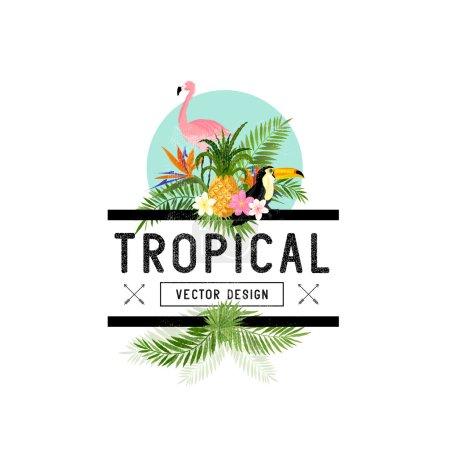 Illustration pour Éléments de design tropical. Divers objets tropicaux, dont des oiseaux toucans, des feuilles d'ananas et de palmier . - image libre de droit