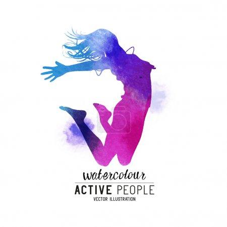 Watercolour Jumping Women Vector