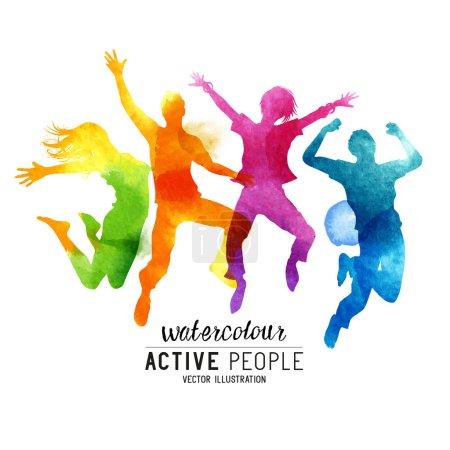 Illustration pour Aquarelle Jumping People Vector. Un groupe de freinds sautant dans les airs. Illustration vectorielle . - image libre de droit