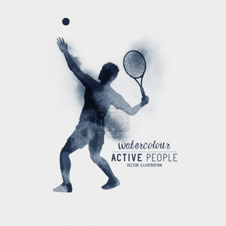 Watercolour Tennis Player Vector