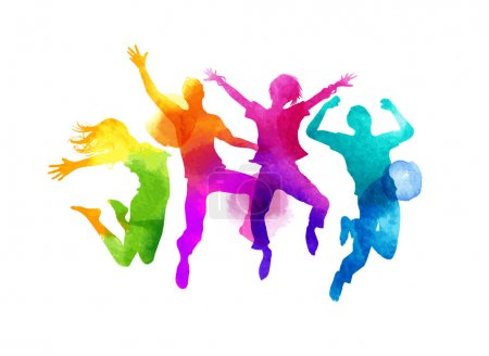 Illustration for A group of friends jumping expressing happiness. Watercolour vector illustration. - Royalty Free Image