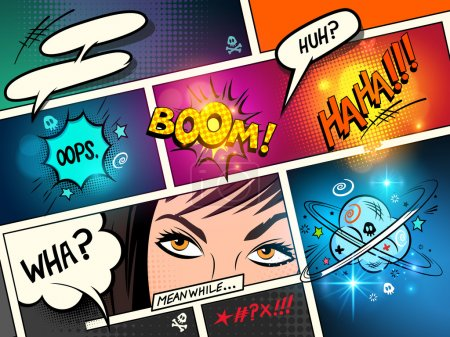 Illustration for Speech Bubbles on a comic strip background with cartoon actions. vector illustration - Royalty Free Image