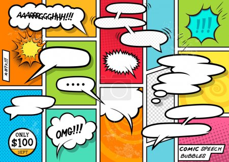 Illustration for Comic Book Speech Bubbles. A set of colourful and retro comic book design elements with speech bubbles! Vector illustration. - Royalty Free Image