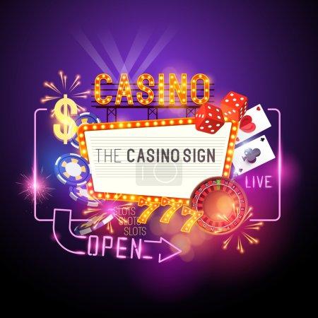Casino Party Vector - Role the dice - Win big! Cas...
