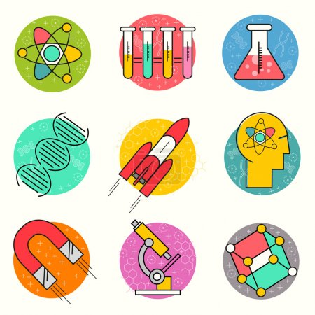 Illustration for Science Vector Icon Set. A collection of gold science themed line icons including a atom, chemistry symbols and equipment. Layered Vector illustration. - Royalty Free Image