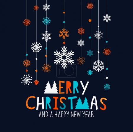 Illustration for Merry Christmas Decorations. Hanging snowflake decorations and merry christmas sign. Vector illustration. - Royalty Free Image