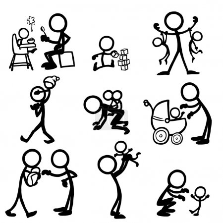 Illustration for Stick figures with babies - Royalty Free Image