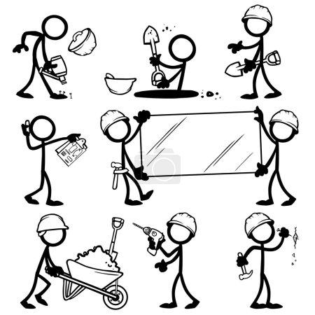 Illustration for Set of stick figures builders, constructors. vector illustration on white background - Royalty Free Image