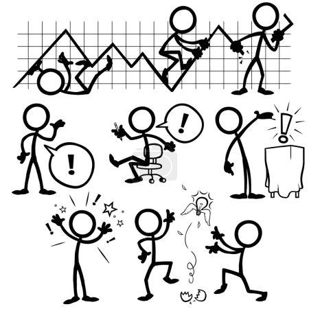 Illustration for Set of stick figures, business ideas. vector illustration on white background - Royalty Free Image