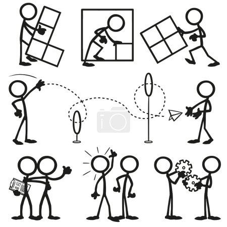 Illustration for Set of stick figures, business working together. vector illustration on white background - Royalty Free Image