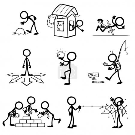Illustration for Set of stick figures, business theme. vector illustration on white background - Royalty Free Image