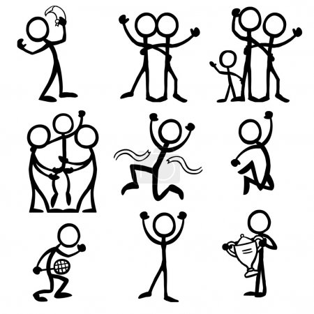 Set of stick figures celebrating