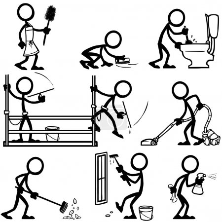 Illustration for Set of stick figures cleaning. vector illustration on white background - Royalty Free Image