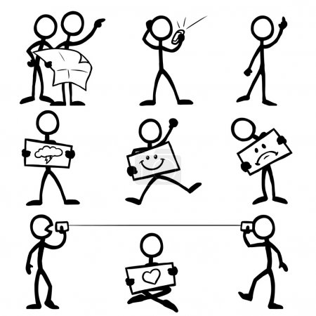 Set of stick figures communicating