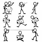 Set of stick figures communicating
