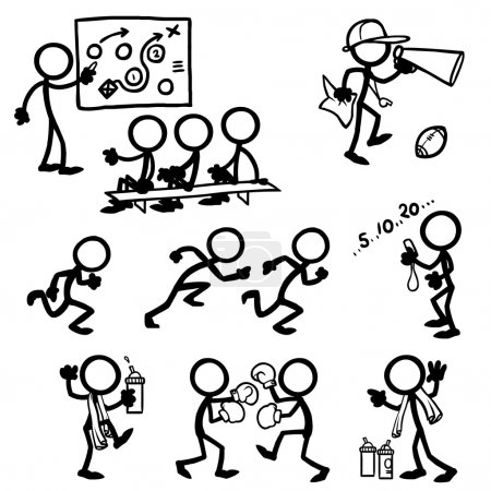 Set of stick figures coaching