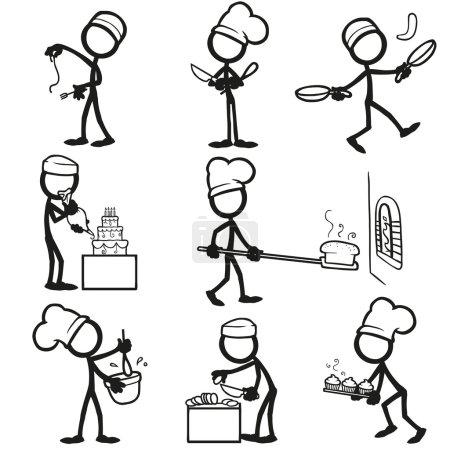 Illustration for Set of stick figures Cooking. vector illustration on white background - Royalty Free Image