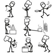Set of stick figures Cooking vector illustration on white background