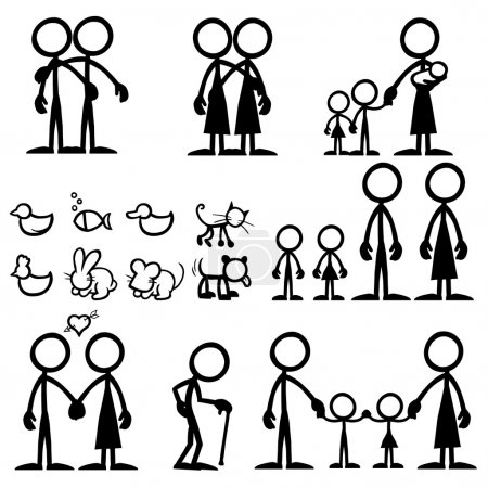 Illustration for Set of stick figures, family. vector illustration on white background - Royalty Free Image
