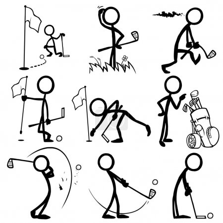 Illustration for Set of stick figures playing golf. vector illustration on white background - Royalty Free Image
