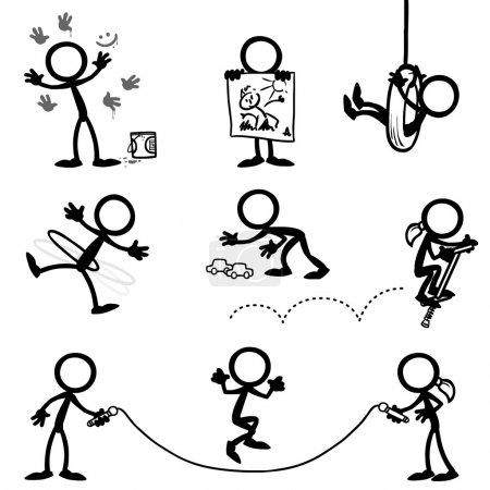 Set of stick figures kids playing
