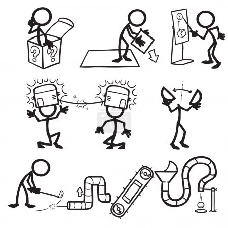 Illustration for Set of stick figures, lateral thinking. vector illustration on white background - Royalty Free Image