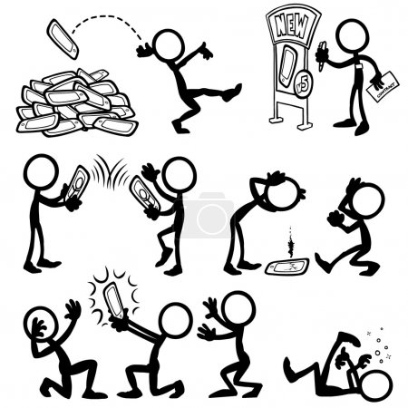 Illustration for Set of stick figures using tablets. vector illustration on white background - Royalty Free Image