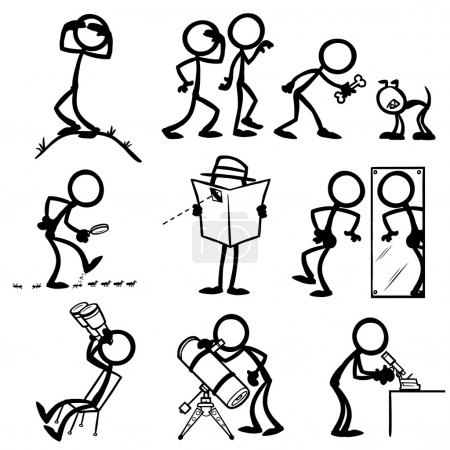 Set of stick figures observing