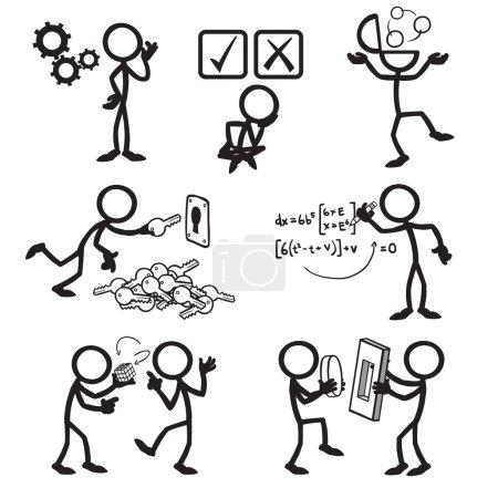 Illustration for Set of stick figures solving problem. vector illustration on white background - Royalty Free Image